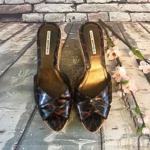 Via Spiga Patent Leather Leopard Wedge Shoes